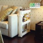 特价 迈辉 厨房置物架 客厅浴室收纳架 把手式夹缝收纳车 白色