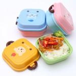 小麦秸秆卡通动物儿童便当盒 迷你双层饭盒水果盒(8002)