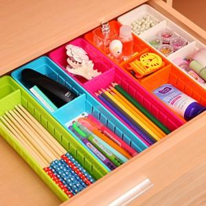 日本木晖 自由分隔 宽型2格抽屉塑料整理筐 杂物收纳盒