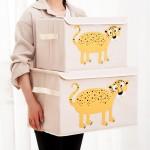 木晖 布艺卡通有盖收纳箱衣服整理箱 折叠储物箱方形玩具大箱子(阿里 淘宝侵权)