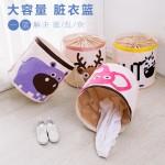 2017款卡通动物收纳桶有机棉挂袋收纳箱 可折叠脏衣篮儿童玩具收纳袋束口篮