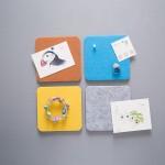 thehaki 韩国时尚多色正方形毛毡墙贴多用途家居装饰板 附图钉