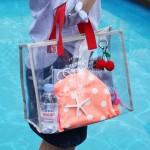 韩国透明PVC手拎游泳包便携衣物收纳包时尚沙滩包旅行手提包