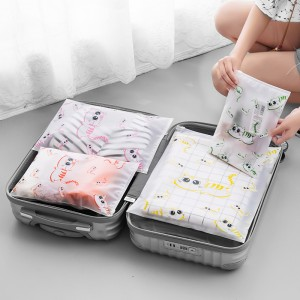 可爱猫咪旅行防水收纳袋套装衣物内衣鞋洗漱化妆分装收纳袋旅游行李整理袋