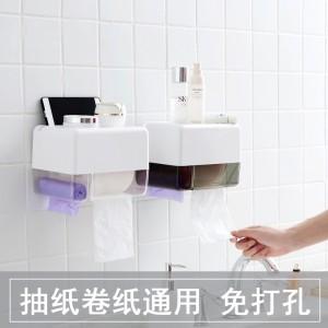 卫生间厕所纸巾盒免打孔卷纸筒抽纸盒防水纸巾置物盒