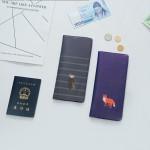 韩国可爱卡通长款钱夹机票旅行证件包皮情侣护照包(048)