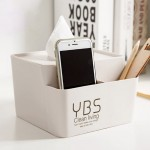创意简约塑料多功能纸巾盒 居家办公桌面收纳方形抽纸盒